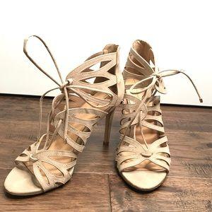 ALDO tan high heel cutout lace up sandals size 9